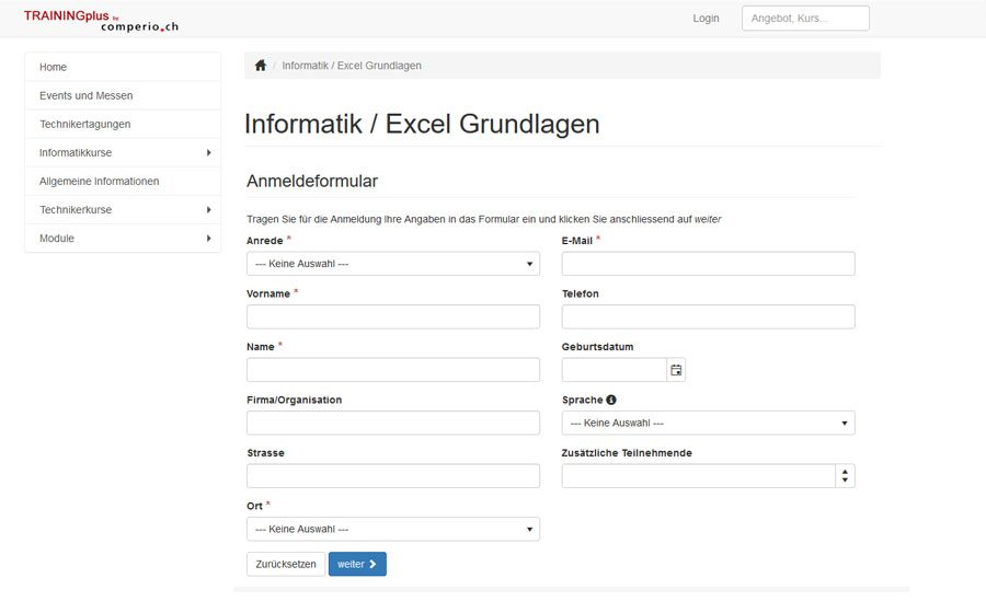 Kursverwaltungssoftware TRAININGplus: Formular Kursanmeldung