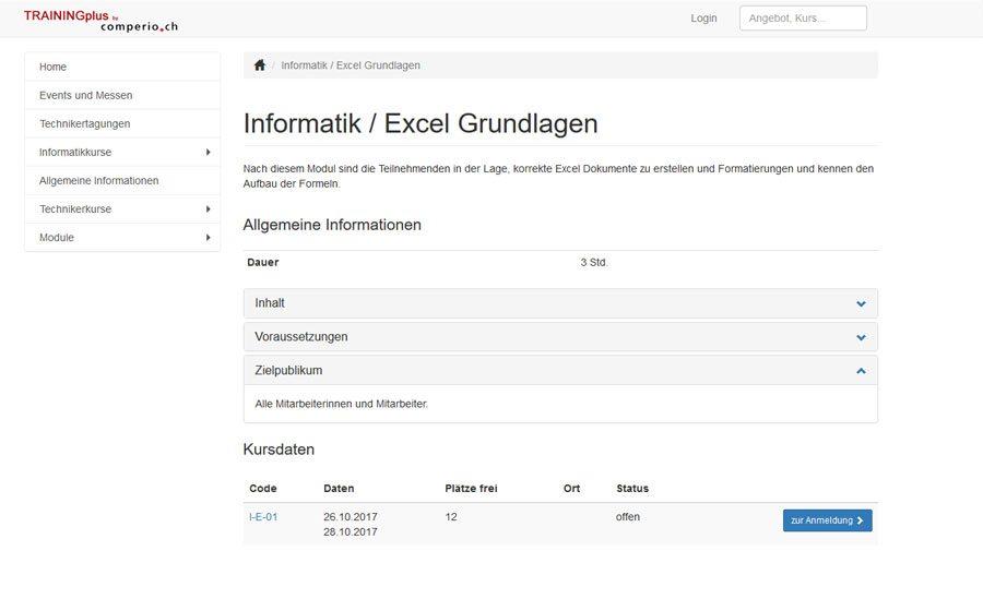 Kursverwaltungssoftware TRAININGplus: Kursausschreibung, Kursdetail