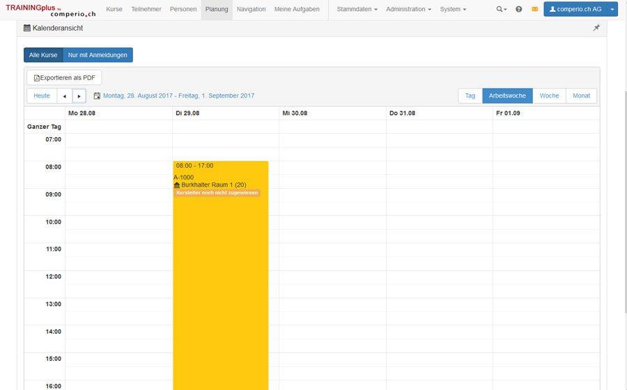 Kursverwaltungssoftware_TRAININGplus: Kalender Kursplanung